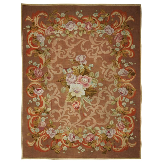 French Restoration Period Handwoven Antique Aubusson Rug, Circa 1830 For Sale