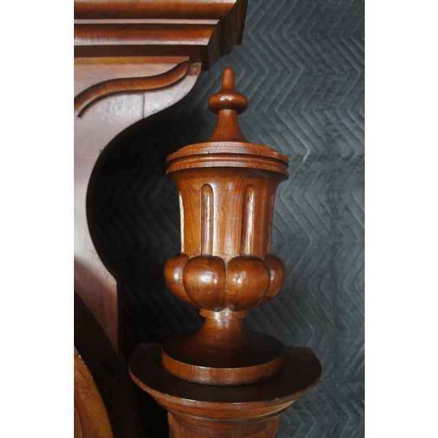 Mid 19th Century Antique Victorian Carved Walnut Highback Full Bedframe For Sale - Image 5 of 13