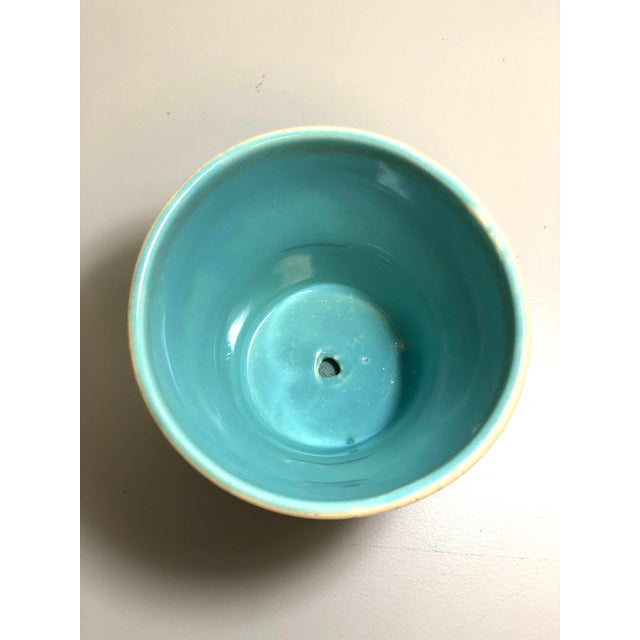 """Transitional 1940s - 1960s Mid-Century McCoy Pottery Small """"Teal Blue"""" Flowerpot and Saucer For Sale - Image 3 of 5"""