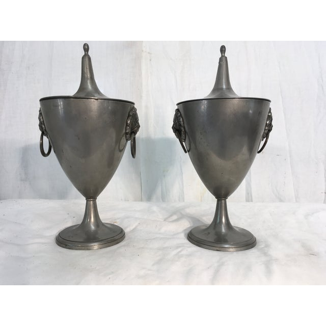 19th C. English Pewter Urns - A Pair - Image 2 of 9