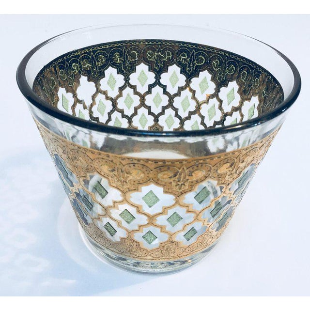 Glass 1960s Mid-Century 22-Karat Gold Leaf Plates and Ice Bucket by Culver - Set of 3 For Sale - Image 7 of 10