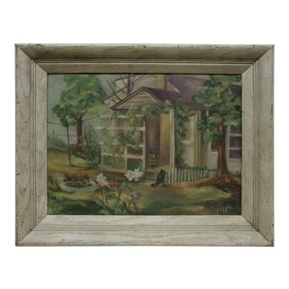 Midcentury Landscape Painting, Black Cat in the Yard For Sale