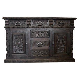 French Louis Handcrafted Solid Wood Buffet Sideboard For Sale