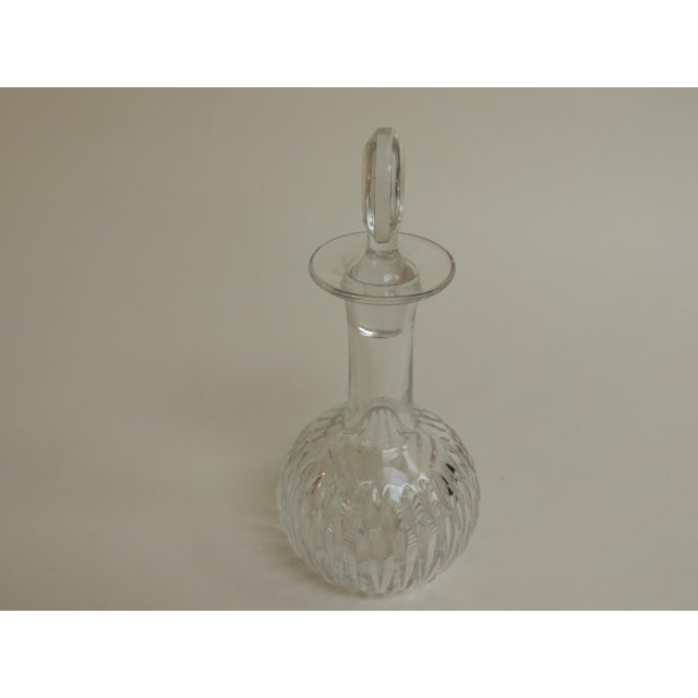 Vintage Cut Crystal Decanter With Round Stopper For Sale - Image 4 of 5