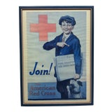 """Image of Americana Framed Red Cross Poster, """"Join - the American Red Cross"""" by Emmett Olstsan For Sale"""
