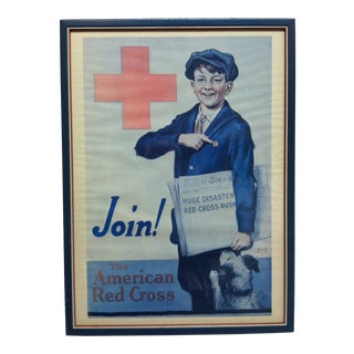 "Americana Framed Red Cross Poster, ""Join - the American Red Cross"" by Emmett Olstsan For Sale"