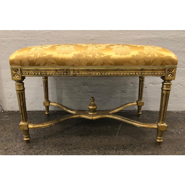 1950s Louis XIV Style Giltwood Bench For Sale - Image 5 of 5