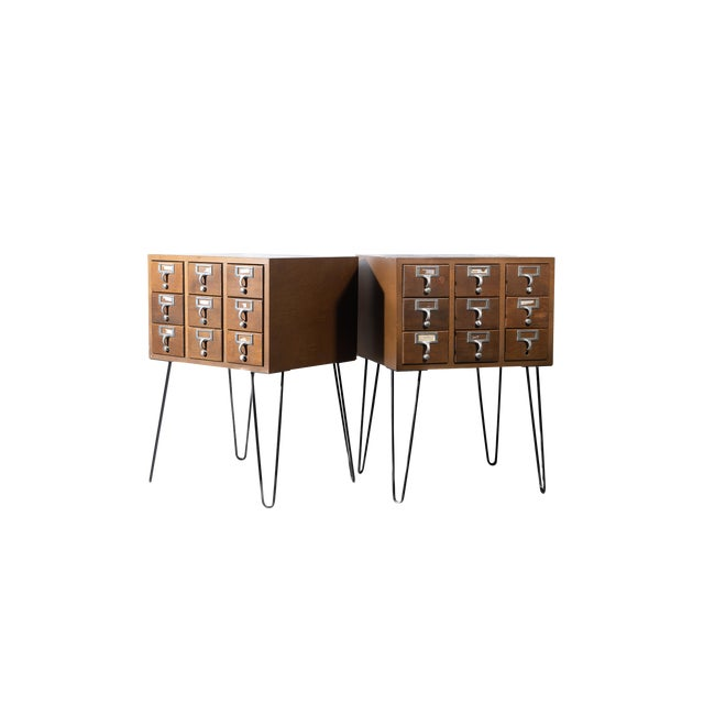 Vintage Hairpin Leg Card Catalogue Side Tables - a Pair For Sale