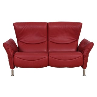 Vintage Reclining Loveseat by De Sede Upholstered in Red Leather