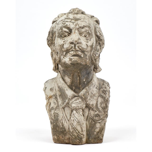 Vintage bust of Spanish artist Salvador Dali. This French stone sculpture captures the fine detail of the moustache and...