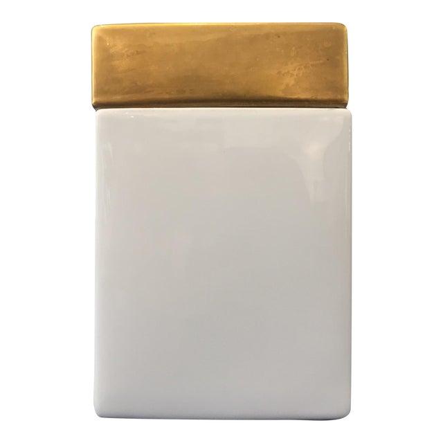 Vintage Gold & White Ceramic Jar - Image 1 of 5