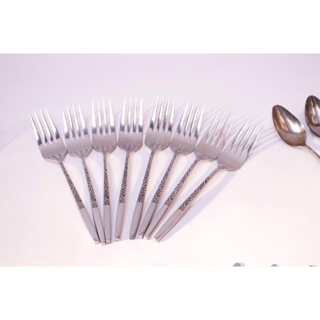Mid-Century Modern Mid-Century Japanese Modern Ekco Epic Forty-Piece Stainless Steel Flatware Set For Sale - Image 3 of 13