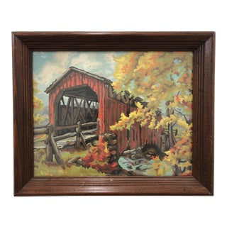 Vintage Paint by Number Scene in Frame For Sale