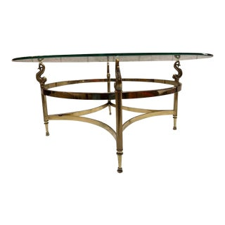 Hollywood Regency Gold Base Coffee Table With Seahorses and Glass Top For Sale