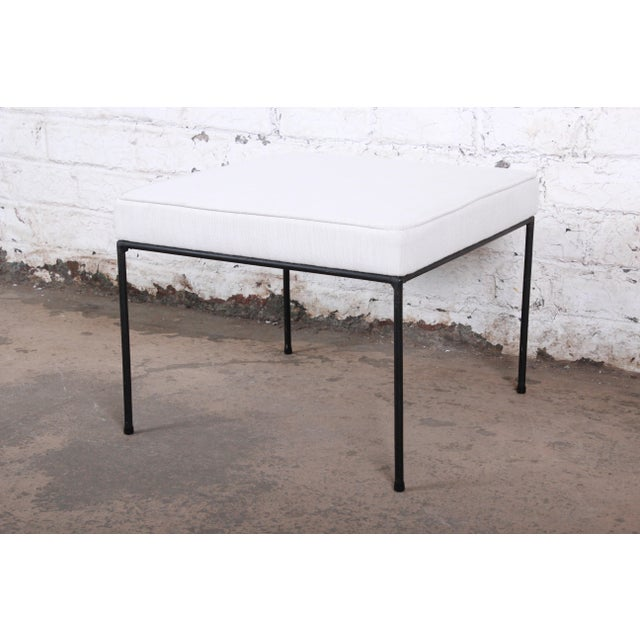 Metal Paul McCobb Mid-Century Modern Upholstered Iron Stool or Ottoman, Newly Restored For Sale - Image 7 of 7