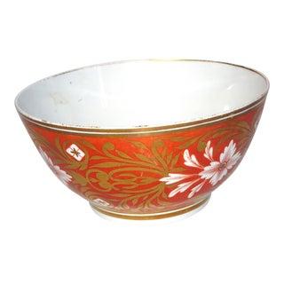 Antique Orange & Gilt Detail Porcelain Bowl