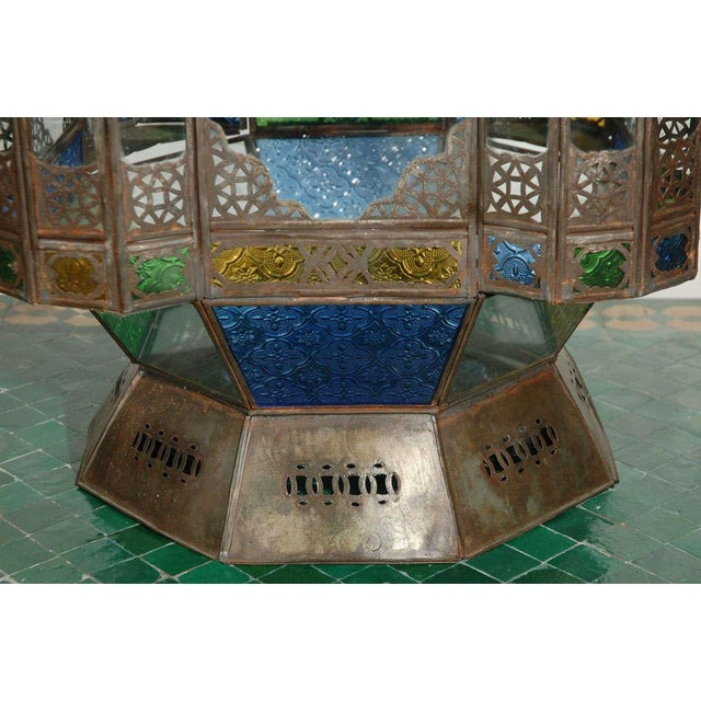 Blue Vintage Moorish Glass Lantern From Marrakech For Sale - Image 8 of 10