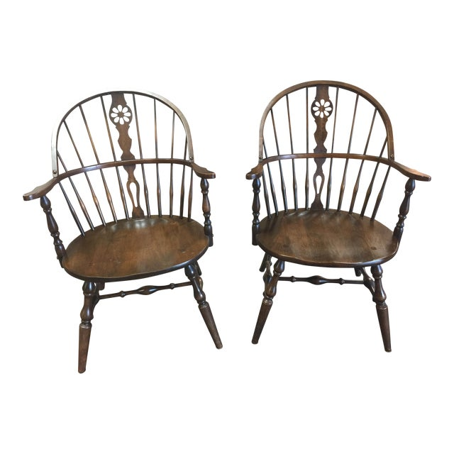 "Vintage ""Hale of Vermont"" Windsor Armchairs - A Pair - Image 1 of 7"