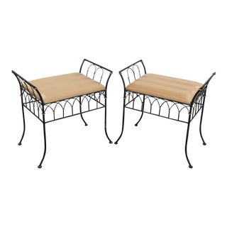 Late 20th Century Vintage Directoire Style Benches- A Pair For Sale