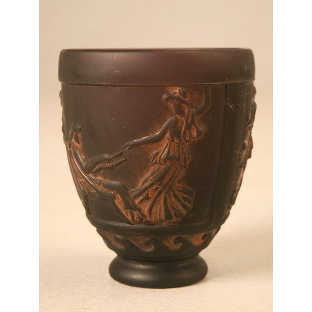 Brown Signed Georges De Feure Molded Pressed Glass Vase For Sale - Image 8 of 10