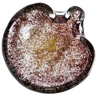 Ercole Barovier Toso Murano Vintage Gold Flecks Relievi Aurati Italian Art Glass Mid Century Bowl For Sale