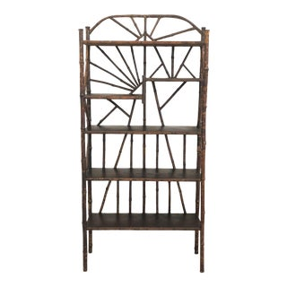 20th Century Arts and Crafts Burnt Bamboo Decorative Etagere Shelf For Sale