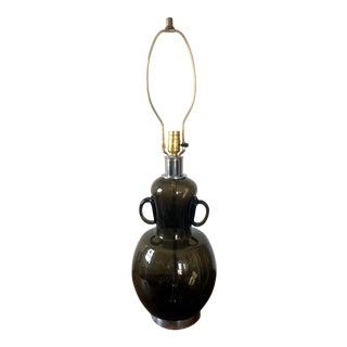 Mid Century Italian Glass Chrome Table Lamp For Sale