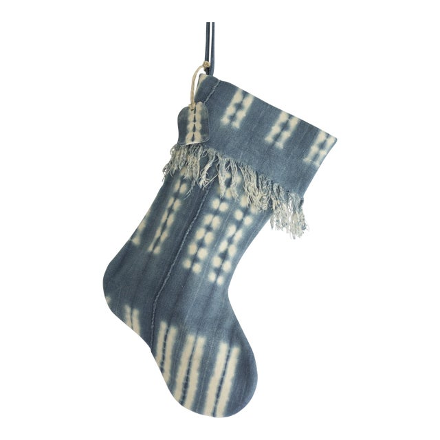 Mossy Indigo Mudcloth Christmas Stocking - Image 1 of 6