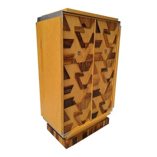 1977 Paul Evans Styled, Brulaist Armoire, W/ Geometric Pieced Exotic Wood Paneled Doors For Sale