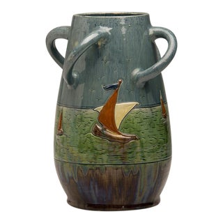 1920s Belgium Whimsical Sailing Motif Ceramic Vase For Sale