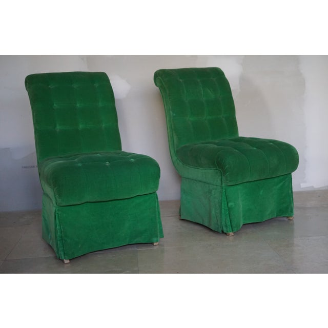 Traditional 1970s Vintage Green Slipper Chairs - A Pair For Sale - Image 3 of 5
