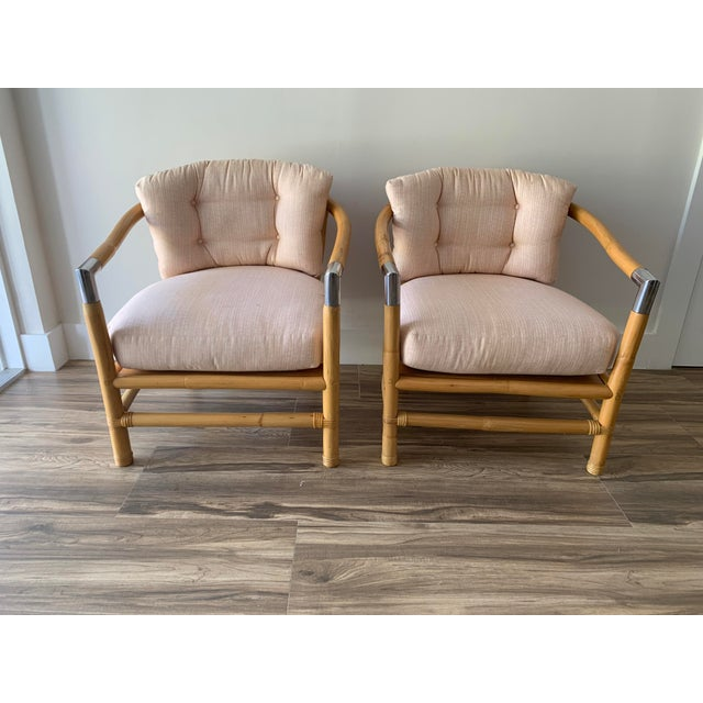Bamboo and Chrome Lounge Chairs- A Pair For Sale - Image 12 of 12