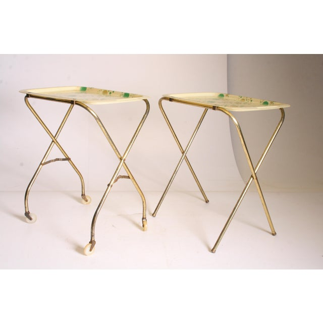Mid Century Modern Yellow & Green TV Tray Tables - Set of 4 - Image 5 of 11