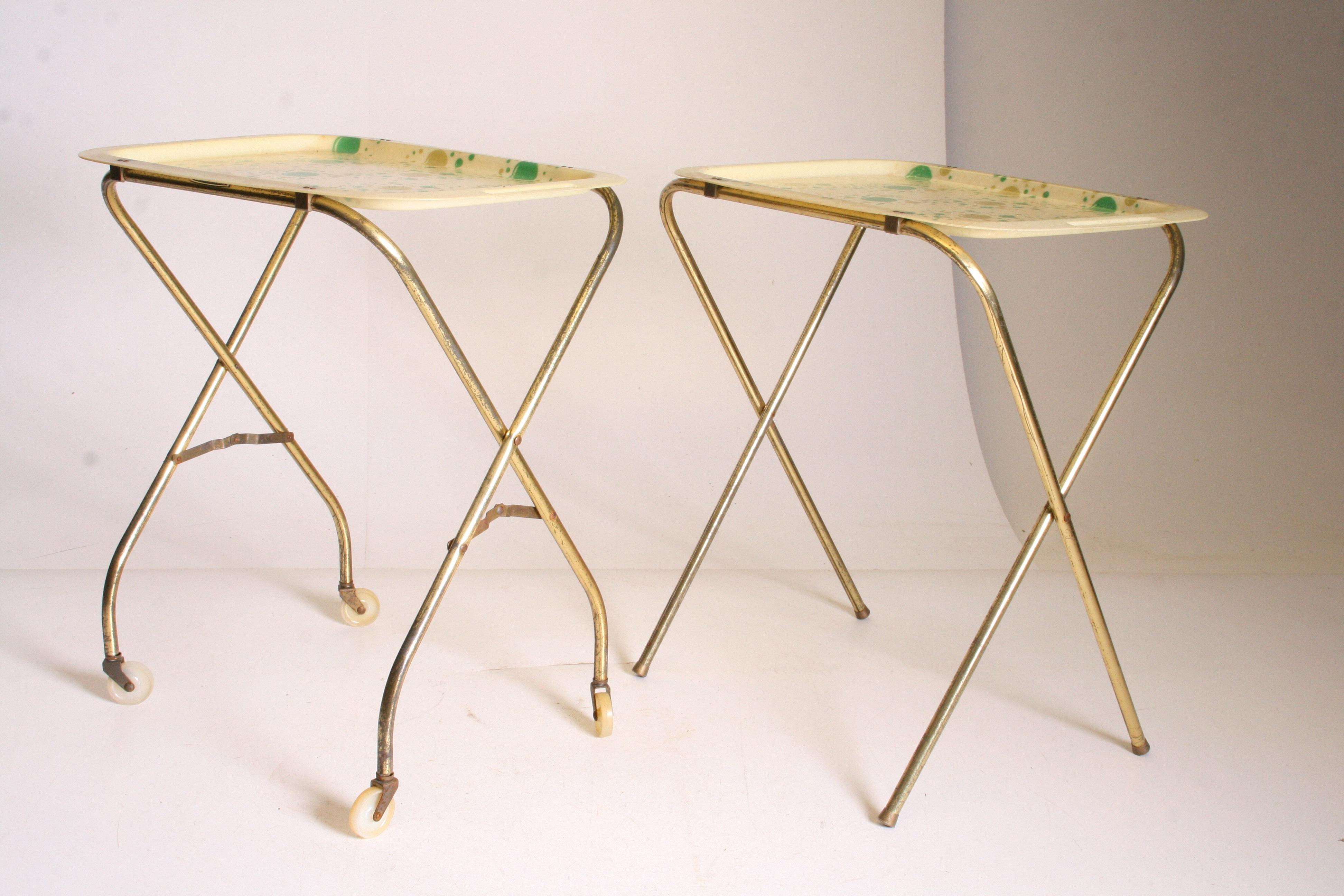 Mid Century Modern Yellow U0026 Green TV Tray Tables   Set Of 4   Image 5
