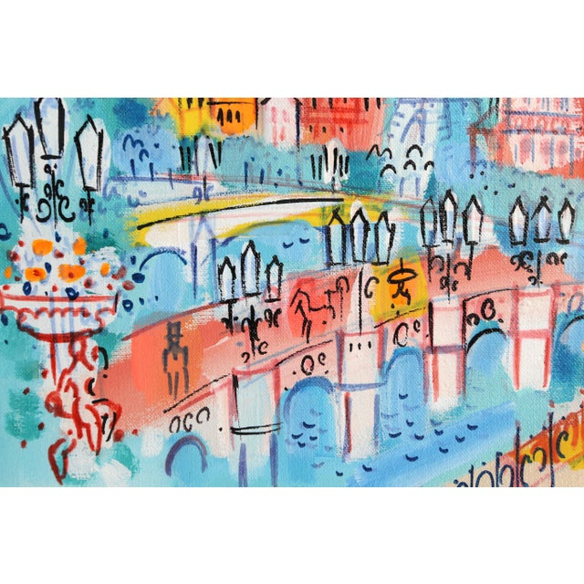 "Figurative Charles Cobelle, ""View of Eiffel Tower and Bridge, Paris"", Cityscape Painting For Sale - Image 3 of 5"
