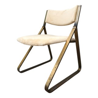 Brass-Plated Metal and Suede Chair For Sale