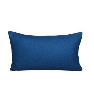 FirmaMenta Italian Eco-Friendly Petrol Blue Wool Lumbar Pillow Cover For Sale