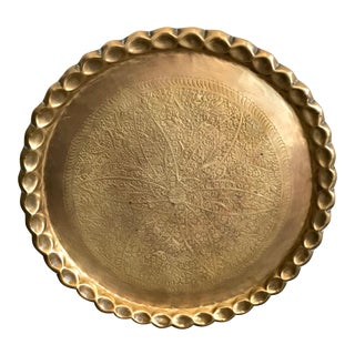 1970s Moroccan Round Brass Embossed Tray