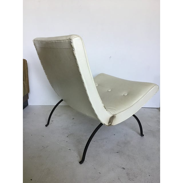 Metal Vintage Milo Baughman Iron Leg Scoop Lounge Chair For Sale - Image 7 of 11