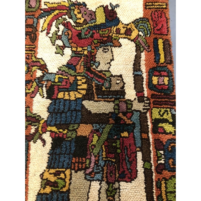 Turquoise Mid Century Aztec Warrior Shag Rug For Sale - Image 8 of 12