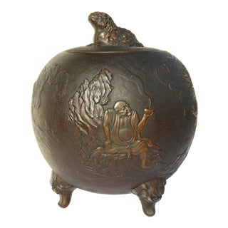 Early 20th Century Asian Covered Jar Bronze Clad Ceramic Cachepot For Sale