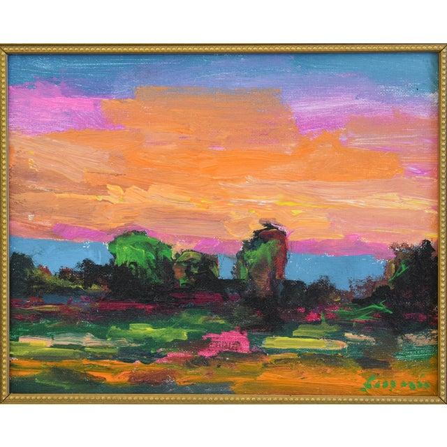 "Ojai, California landscape & sunset painting artist canvas panel by Juan ""Pepe"" Guzman-Maldonado (Chile b.1948). The..."