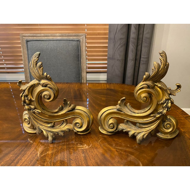 The School of Paris 19th Century French Gilt Bronze Andirons, Ormolu Chenets - a Pair For Sale - Image 3 of 3