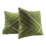 Image of Contemporary Madeline Weinrib Pillows in Celery Green Stripe Pattern - a Pair For Sale