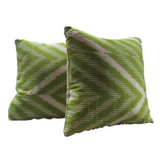 Contemporary Madeline Weinrib Pillows in Celery Green Stripe Pattern - a Pair For Sale
