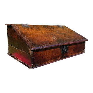 17th Century Antique Charles II Oak Bible Box For Sale