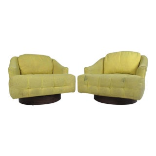 Vintage Barrel Back Swivel Lounge Chairs - a Pair For Sale