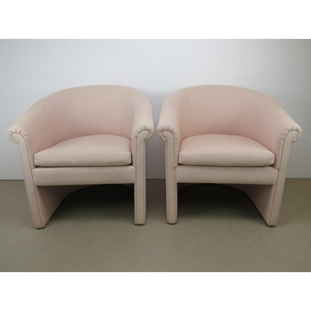 Hollywood Regency 1960s Milo Baughman Style Muted Rose Pink Barrel Back Tub Chairs - a Pair For Sale - Image 3 of 13