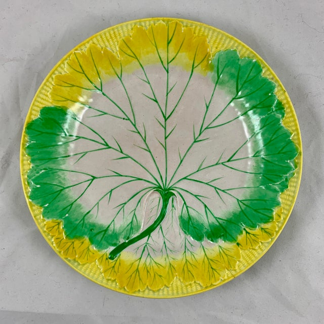 A set of six, enameled Pearlware cabbage plates, Josiah Wedgwood, date marked 1860. This set is very scarce, the mold is...