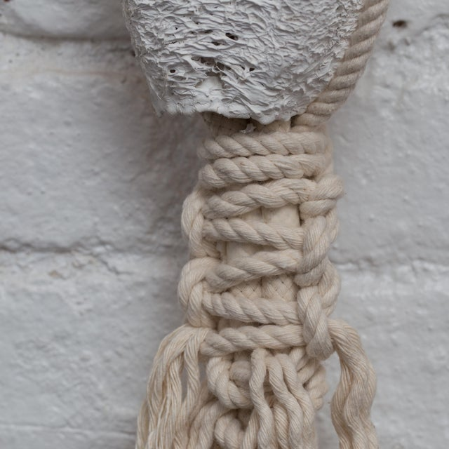White Hand Braided Macrame Wall Hanging by Oscar Ruiz-Schmidt and Barbara Cuevas For Sale - Image 8 of 11